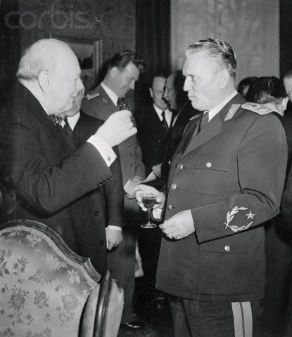 Josip Broz Tito Being Welcomed by Winston Churchill